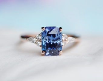Rose Gold Engagement Ring. Vibrant Blue Sapphire Ring. 14k rose gold diamond ring. Emerald Radiant cut Sapphire. Campari by Eidelprecious