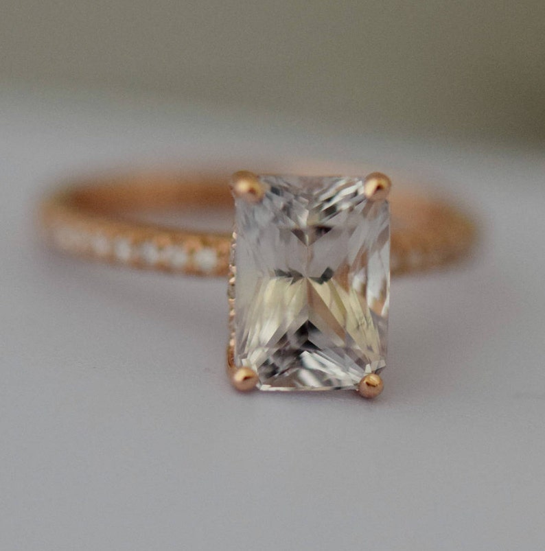 d273838b9e15a White Sapphire Engagement Ring Emerald cut white sapphire ring 14k rose  gold diamond ring 2.86ct sapphire ring Blake design by Eidelprecious