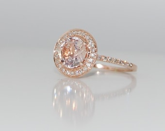 Rose gold engagement ring. 2.4ct round Ice Peach Champagne sapphire diamond ring 14k rose gold ring by Eidelprecious