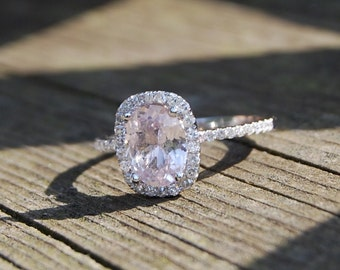 2ct Cushion Light Peach Champagne Sapphire 14k white gold diamond  Engagement Ring by Eidelprecious