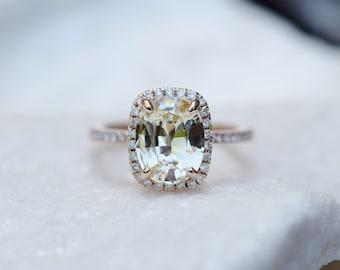 2.55ct Champagne Yellow sapphire ring. Cushion ring. 14k rose gold diamond ring. Rose gold ring sapphire ring by Eidelprecious