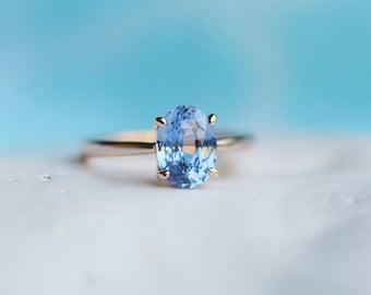 Blue sapphire engagement ring. Sky blue sapphire 2.14ct oval ring 14k Rose gold ring. Engagement ring by  Eidelprecious