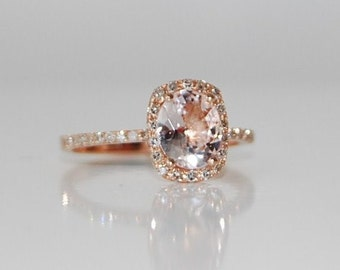 Rose gold engagement ring sapphire ring diamond ring White sapphire 14k rose gold. Engagement rings by Eidelprecious
