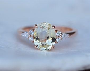 Yellow sapphire ring. Rose gold engagement ring. Jasmine sapphire oval 2.1ct jasmine champagne sapphire ring Campari ring by Eidelprecious
