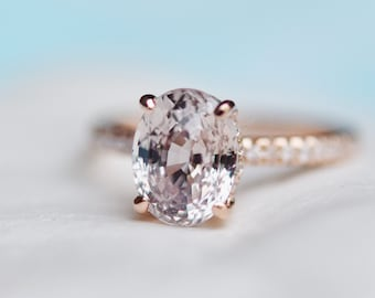 Blake ring. Champagne Sapphire Engagement Ring. Oval engagement ring. 14k rose gold diamond ring. Sapphire ring by Eidelprecious