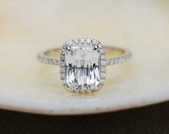 Sapphire Engagement Ring 14 White sapphire engagement ring  White Gold ring with 3.05ct White Emerald Sapphire Ring by Eidelprecious
