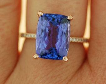 Tanzanite Ring. Rose Gold Ring GIA certified Lavender Lilac Tanzanite cushion cut engagement ring 14k rose gold.