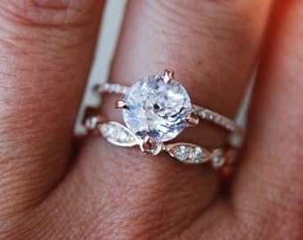 Rose gold engagement ring  2.55ct round white sapphire diamond ring. Engagement ring by Eidelprecious