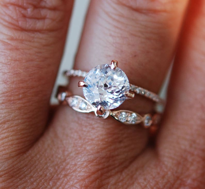 771a786418400 Rose gold engagement ring 2.55ct round white sapphire diamond ring.  Engagement ring by Eidelprecious