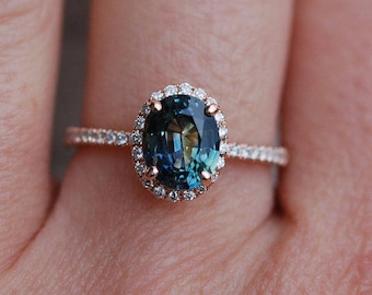 Green sapphire engagement ring. Peacock green sapphire 3ct oval halo diamond  ring 14k Rose gold. Engagenet rings