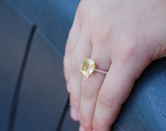 5ct  GIA certified Yellow sapphire ring. Canary yellow ring. Cushion 14k rose gold diamond ring. 5ct Lemon sapphire ring by Eidelprecious