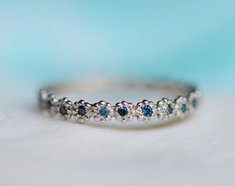 Peacock diamond 1mm Diamond Wedding band matches ANY engagement ring. Eternity band 14k gold Low Profile Band Matching Band Flower Flat band