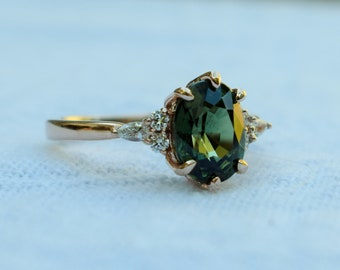 Platinum upgrade - la Camparsita- Sapphire engagement ring. Green sapphire ring. Oval Sapphire ring by Eidelprecious
