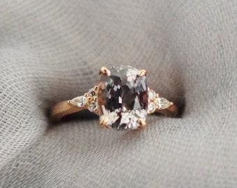 Engagement Ring Rose gold engagement ring. 3.59ct Grey Sapphire ring Campari ring cushion sapphire diamond ring by Eidelprecious