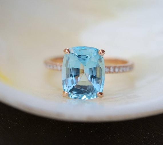 Aquamarine Engagement Ring 14k Rose Gold Ring 3 47ct Seafoam Etsy