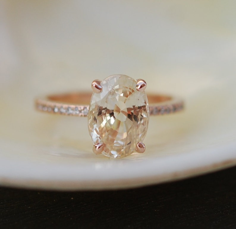 Blake Lively ring. Champagne Sapphire Engagement Ring. Oval image 0