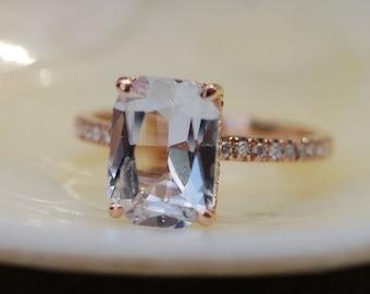 Emerald cut Sapphire Ring. Engagement Ring emerald cut 14k rose gold diamond ring 3ct sapphire ring by Eidelprecious