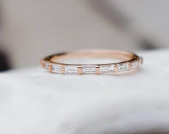Baguette Diamond band. Rose gold diamond band. Unique wedding band. Rose Gold Matching Band Eternity Diamond band by EidelPrecious