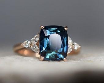 Blue Green sapphire engagement ring. Peacock green sapphire 3.75ct cushion ring 14k Rose gold. Trillium Engagement ring by  Eidelprecious.