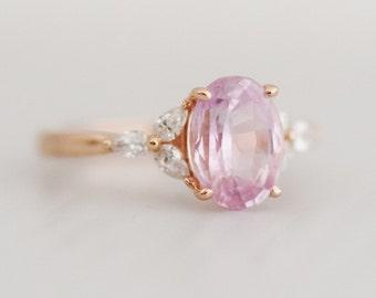 Blush sapphire engagement ring. Light pink sapphire ring 4.5ct oval diamond ring 14k Rose gold. Trillium Engagement ring Eidelprecious.