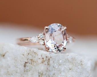 Moody Engagement Ring. Color change sapphire ring. Rose gold engagement ring Campari ring oval ring Sapphire ring by Eidelprecious