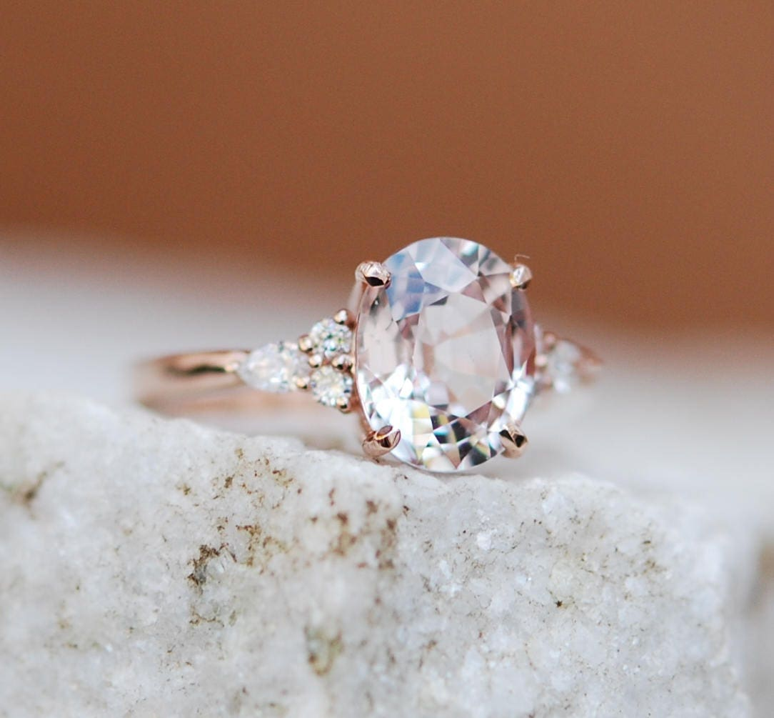 Moody Engagement Ring Color Change Sapphire Ring Rose Gold