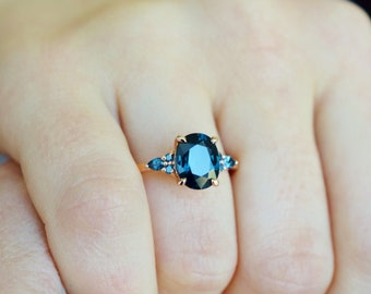 New 2021 collection! Green Campari engagement ring collection. Peacock sapphire ring, oval diamond ring 14k Rose gold by Eidelprecious