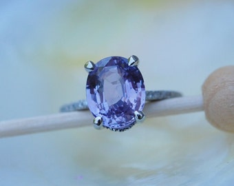 Ultra Violet - the color of 2018. Platinum engagement Ring. Blake Lively ring. Purple Sapphire Ring. Plum Oval Sapphire 4.4ct Eidelprecious