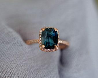 Teal sapphire engagement ring. Peacock green sapphire 3ct cushion sapphire diamond  ring 14k Rose gold. Engagenet rings by Eidelprecious.