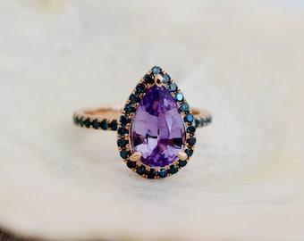 Spring 2020. Purple Sapphire Engagement Ring. 14k Rose Gold 1.75ct, Pear Cut Purple Sapphire Ring. Engagement ring by Eidelprecious