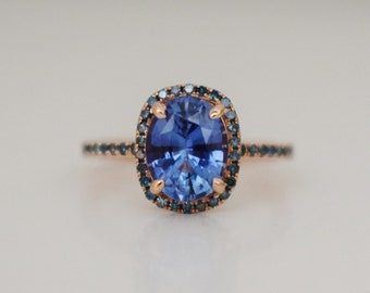 Fall/Winter Mood Color Palette Sapphire ring. Rose gold engagement Teal sapphire 14k rose gold ring by Eidelprecious