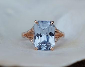 New! Paris Engagement Ring. Ice Blue Sapphire Ring. Rose Gold Ring. Gray Blue sapphire emerald radiant cut engagement ring by Eidelprecious