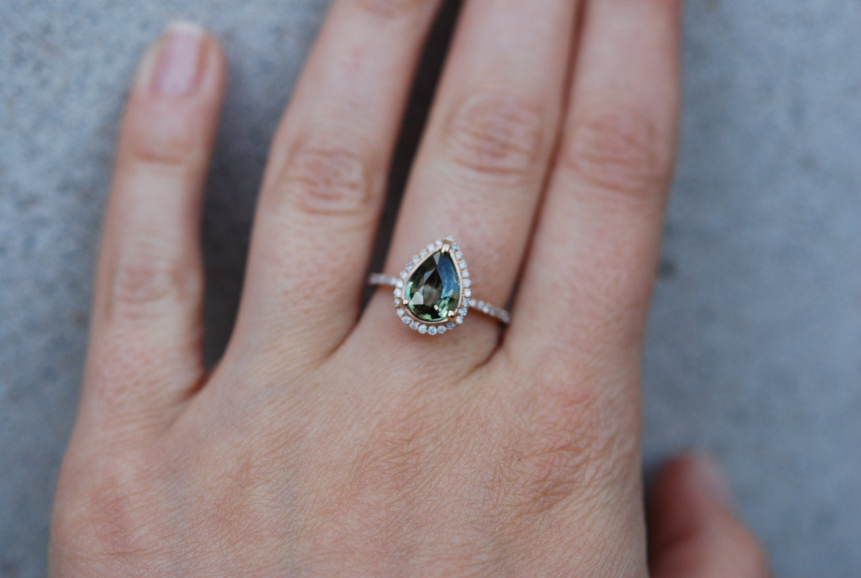 ebc8db299 Rose Gold Engagement Ring Green Tea Sapphire pear cut halo engagement ring  14k rose gold.