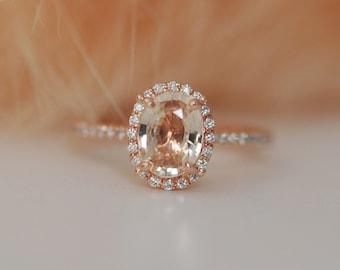 Rose gold ring. Peach sapphire diamond ring. 14k rose gold oval sapphire ring. Engagement ring Eidelprecious.