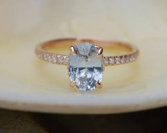 Blake Lively ring White Ice Blue Sapphire Engagement Ring oval cut 14k rose gold diamond ring 2.07ct White sapphire ring