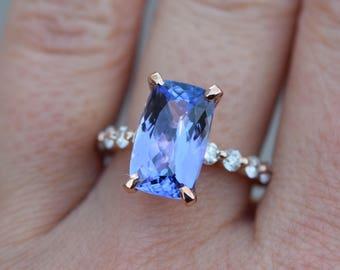 Ultra-Violet Tanzanite Ring. Color of 2018. Rose Gold Engagement Ring Lavender Mint Tanzanite cushion cut engagement ring 14k rose gold.