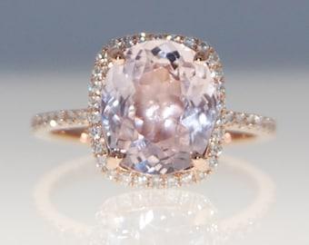 Engagement Ring 14k Rose Gold Diamond Ring 4.8ct Cushion Mauve Blush Ice Peach Champagne Sapphire ring by Eidelprecious
