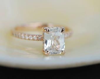Blake Lively ring  White Sapphire Engagement Ring emerald cut 14k rose gold diamond ring 2ct sapphire ring
