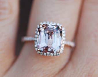 Peach Sapphire Ring Rose Gold Engagement Ring 5.86ct cushion 14k rose gold diamond ring.