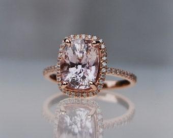 4.5ct Cushion ice peach champagne sapphire ring.  14k rose gold diamond ring by Eidelprecipus