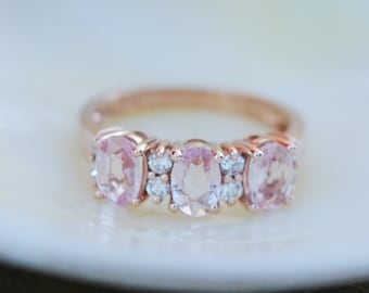 Peach sapphire anniversary ring 3 stone ring 14k rose gold diamond ring by Eidelprecious.