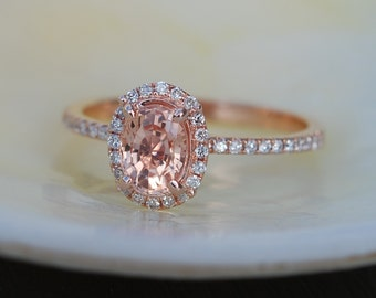 Rose gold engagement ring Peach sapphire diamond ring 14k rose gold oval sapphire