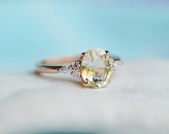 Jasmine sapphire engagement ring. Light yellow champagne sapphire oval diamond ring 14k Rose gold. Campari Engagement ring by  Eidelprecious