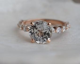 3.2ct White Sapphire ring. Rose Gold Engagement Ring.Diamond Engagement Ring by Eidelprecious