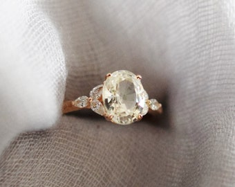 Champagne sapphire ring. Rose gold engagement ring. White sapphire oval 2.4ct jasmine champagne sapphire ring Trillium ring by Eidelprecious