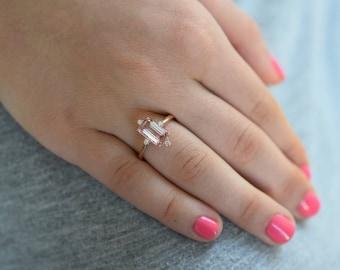 Padparadscha sapphire ring. Baguette engagement ring. 1.65ct emerald cut 14k rose gold diamond ring. Engagement ring Eidelprecious
