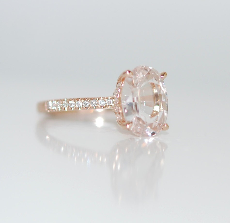 Blake Lively Ring White Sapphire Engagement Ring Oval Cut 14k Rose Gold Diamond Ring 2ct White Sapphire Ring