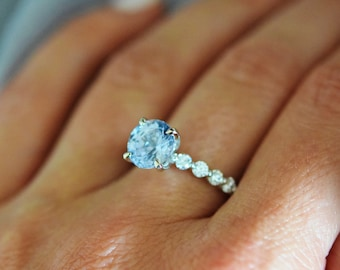 Forget me not. Engagement ring. White Gold Engagement Ring. Sapphire engagement ring. Godivah ring Blue Sapphire round Engagement ring