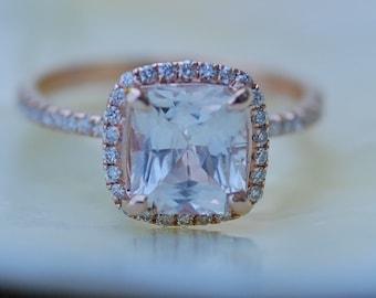 White sapphire engagement ring. Square cushion engagement ring. 14k rose gold diamond ring. 3.03ct cushion sapphire ring by Eidelprecious