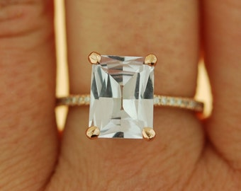 Emerald cut Sapphire Ring. Engagement Ring emerald cut 14k rose gold diamond ring 3.95ct sapphire ring by Eidelprecious